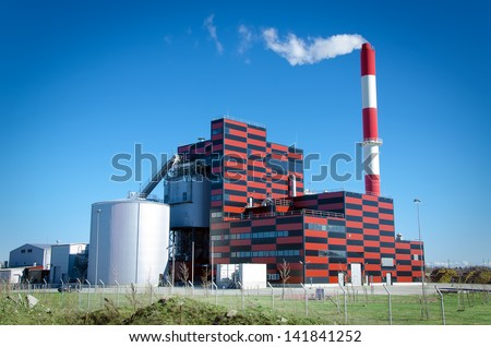 Eco-friendly peat-fired power station - stock photo