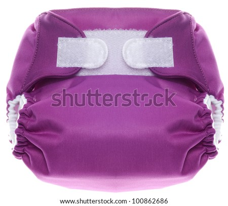 Eco Friendly Purple Cloth Diaper with Hook and Loop Closure Isolated on White. - stock photo