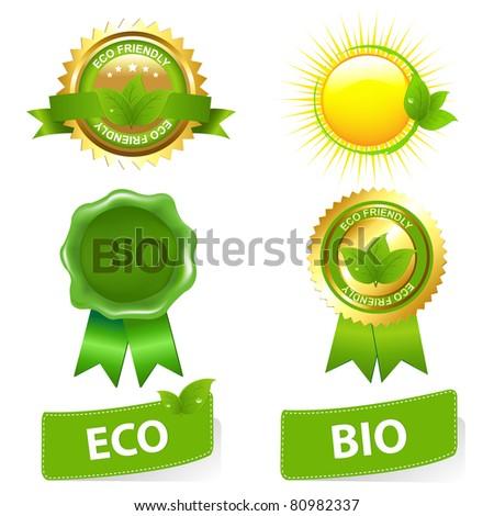 Eco Friendly Set, Isolated On White Background, Vector Illustration - stock photo