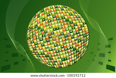 Eco friendly smart phone  app World made with icon set background. - stock photo