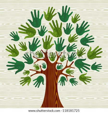 Eco friendly tree hands illustration for greeting card over wooden pattern.