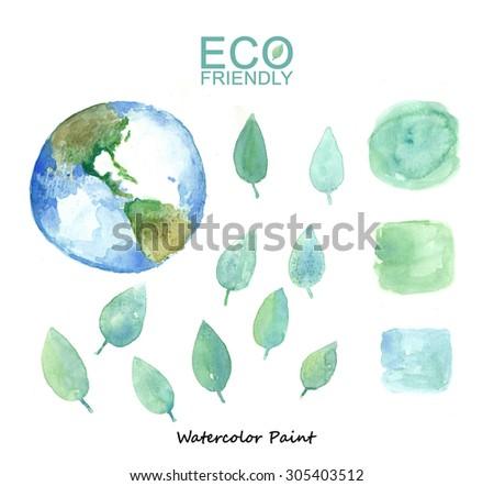 Set watercolor blue splashes drops spots stock vector for Eco friendly paint