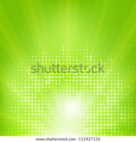 Eco Green Background With Sunburst - stock photo