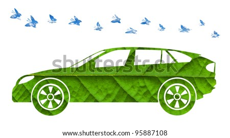 Eco green energy car with butterfles