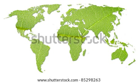 Eco green energy world continents map - stock photo