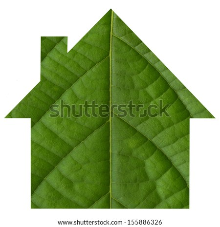Eco green house icon from green leaf background. - stock photo