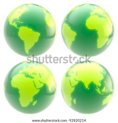 Eco green planet: set of four glossy globes isolated on white