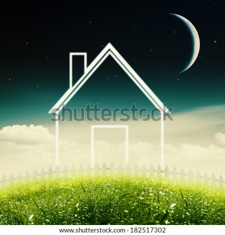 Eco House Concept. Abstract environmental backgrounds - stock photo