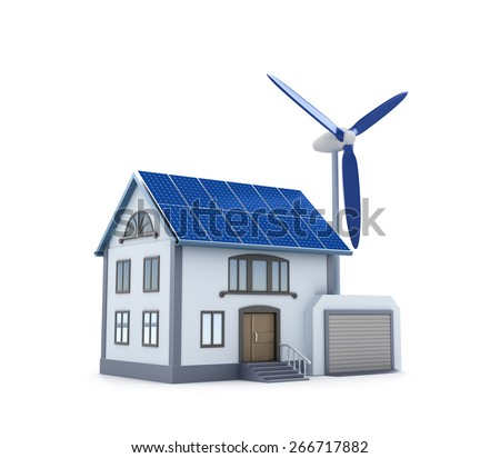 Eco house - 3D image. Isolated icon. - stock photo