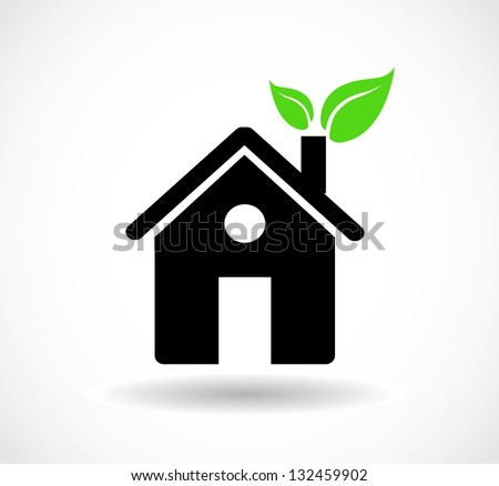 Eco house icon with green leaves in the chimney - stock photo