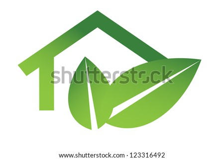 Eco house illustration - stock photo
