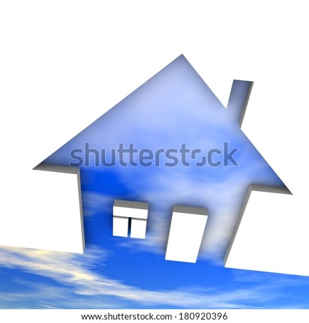 Eco house metaphor. House with sky and clouds. - stock photo