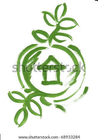 Eco house web icon sketch painted. Green house in circle with leaf illustration or button. Green brush paint handmade on paper on white background.