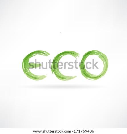 eco icon - stock photo