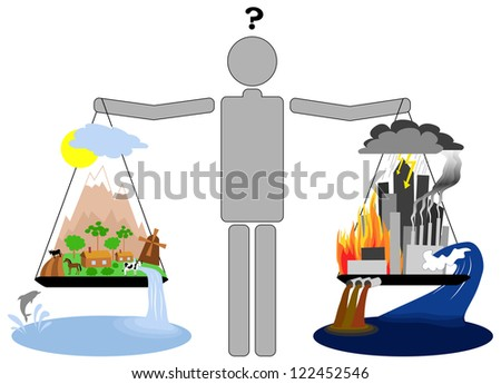 Eco lifestyle vs urban lifestyle. - stock photo