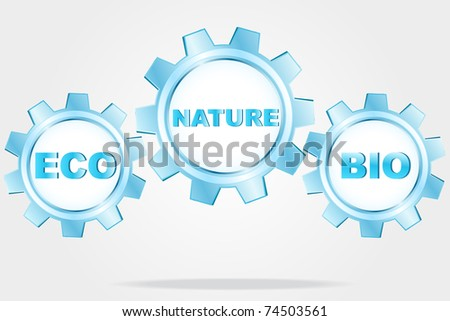 Eco logo - blue cogwheels - stock photo
