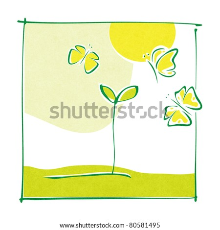 Eco motive - green little plant and butterflies (simple calligraphic drawing) (raster version) - stock photo