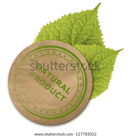 Eco paper sticker isolated over white background. - stock photo