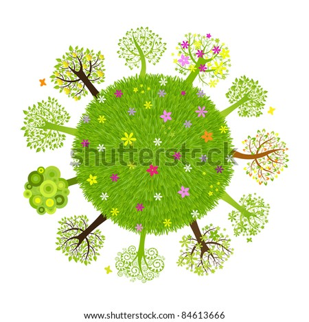 Eco Planet With Tree, Isolated On Black Background - stock photo