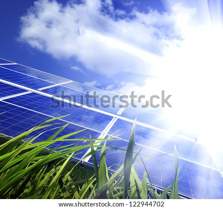 Eco power,Power plant using renewable solar energy with - stock photo
