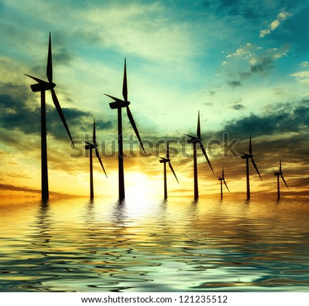 eco power, wind turbines - stock photo