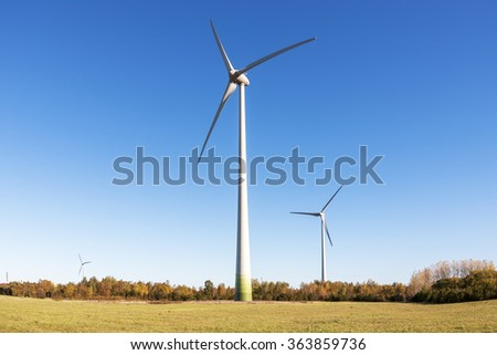 Eco power, wind turbines - stock photo