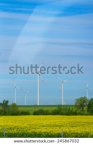 Eco power, wind turbines. The generator renewable energy - stock photo