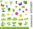 Eco Set With Nature Icons, Isolated On White Background - stock vector
