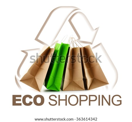 Eco shopping sign with paper bags isolated on white background. - stock photo