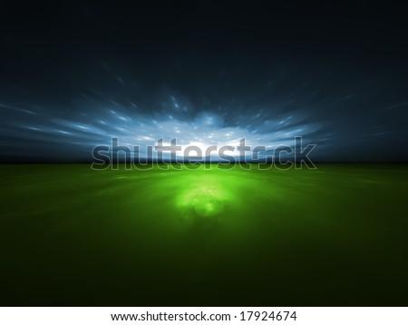 Eco Sparks - 3D fractal illustration - stock photo