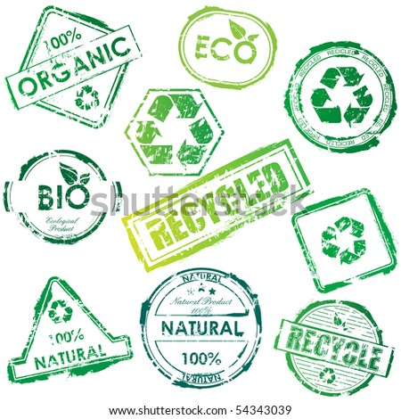 eco stamp set - stock photo
