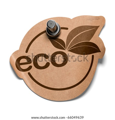 eco sticker over a white background sticker is fixed by a pushpin - stock photo