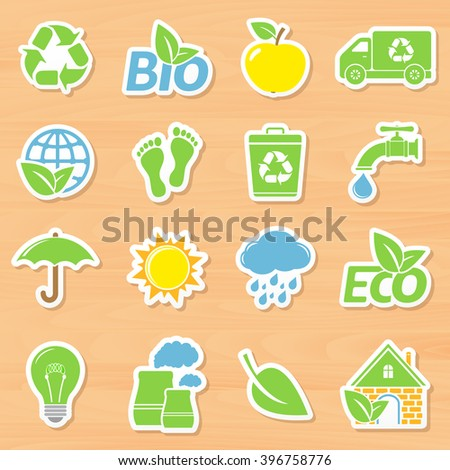 Eco stickers on wooden background