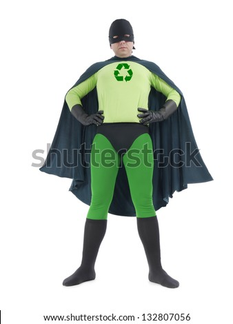 Eco superhero with green recycle arrow symbol on chest standing confidently over white background - recycle concept - stock photo