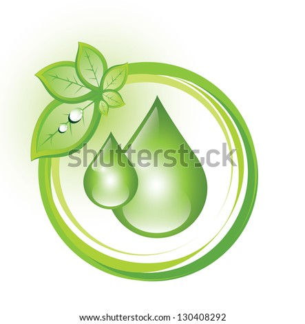 Eco symbol with drops and a cluster of leaves - stock photo