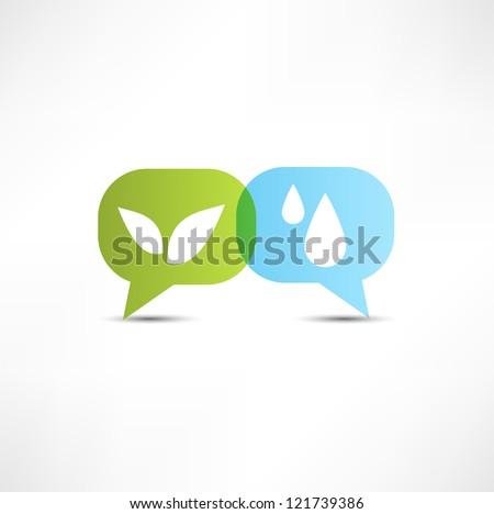 Eco. Water and vegetation. Symbol. - stock photo