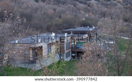 Eco wooden houses, ecological area, celan air, forest