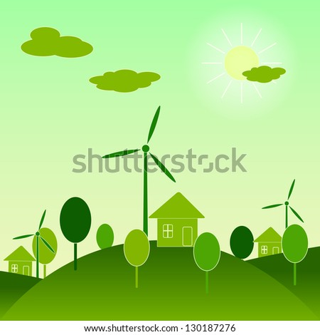 Eco world concept illustration. Raster version of vector artwork.