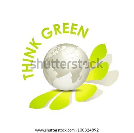 Eco world globe icon think green against white background - stock photo