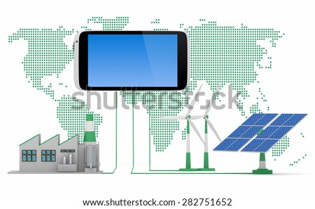 Ecofriendly concept. Green factory, wind turbine and solar panel connected to smartphone in front of world map background. - stock photo