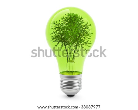 Ecologic Concept - Lamp and Tree isolated on white background