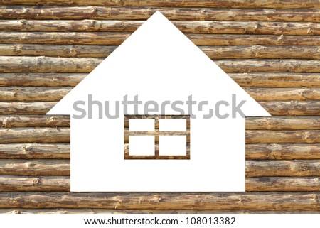 Ecologic wooden house icon on white background - stock photo