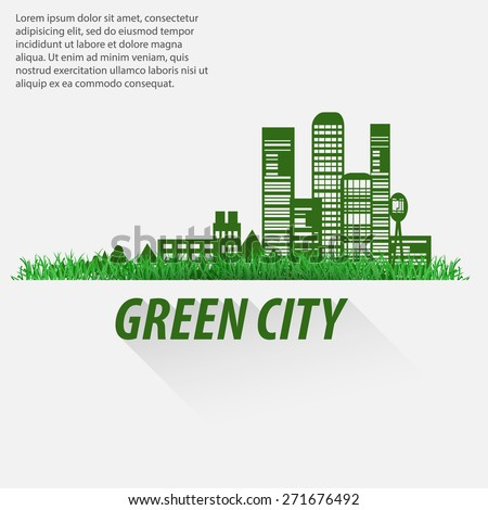 Ecological city infographics. The impact of urbanization on nature and the environment. - stock photo