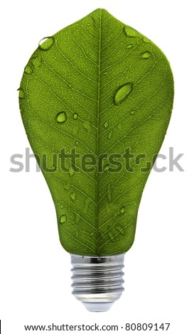 Ecological concept, leaf and lamp mix together - stock photo