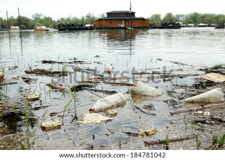 ecological disaster on the Sava River - stock photo