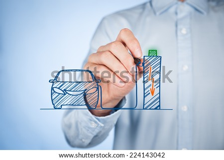 Ecological electric car, electric vehicle, electromobile concepts. Electric car recharge a battery in recharge station (charge point). - stock photo