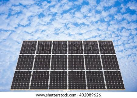 Ecological energy renewable solar panel plant electric power. - stock photo