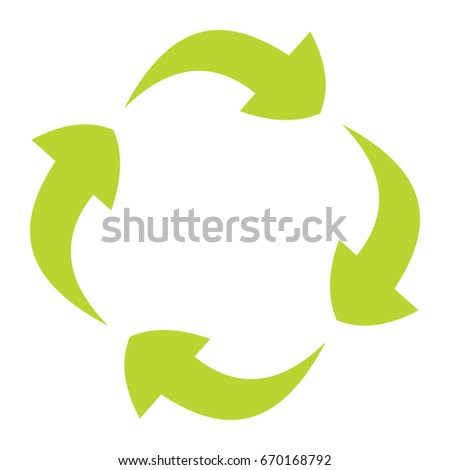 Ecological flat green recycle eco sign isolated on white background.