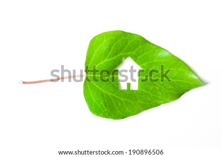 Ecological green house portrayed by a house shaped hole cut from a vibrant green leaf on white background  - stock photo