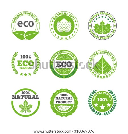 Ecological green leaves symbols earth friendly organic quality bio products round labels collection abstract isolated  illustration